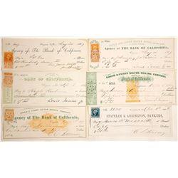 Six Different Gould & Curry Mining Revenue Checks, Virginia City, Nevada