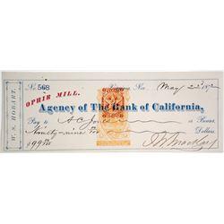 Ophir Mill Check Signed by John Mackay, Virginia City, NV