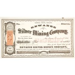 Kewanee Silver Mining Co. Stock Certificate, White Pine County, NV 1869