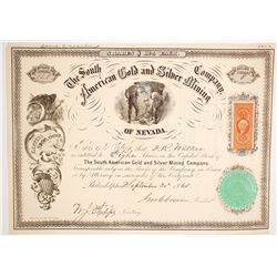 South American Gold & Silver Mining Co. of Nevada Stock Certificate
