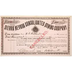 Sierra Nevada Consolidated Mining Company Stock Certificate