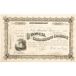 Crowell Gold Mining Company Stock Certificate
