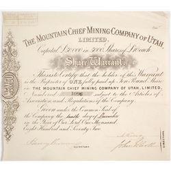 Two Utah Mining Stock Certificates
