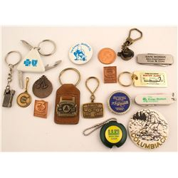 16 Assorted Mining Key Fobs, Knives and Buttons and more