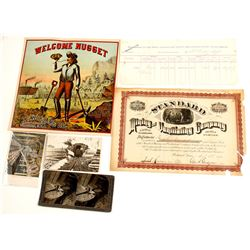 Mining Ephemera: Stock, Assay, Cigar Label, Stereoview, Postcards