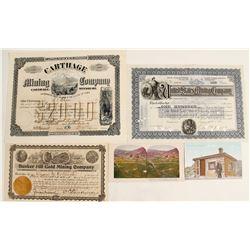 Mining Stock & Ephemera Lot with Rare Missouri Mining Company