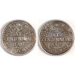 Centennial Bar Token, Barlett, TX