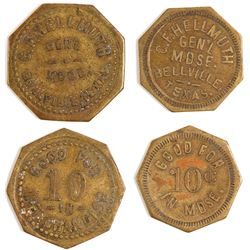 CF Hellmuth Tokens, Bellville, TX, 2 Different