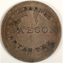 JL Barnes Saloon Token, Bryan, TX
