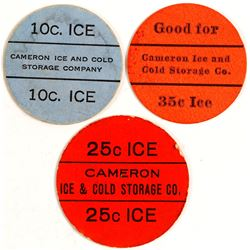 Cameron Ice & Cold Storage Tokens, Cameron, TX (3)