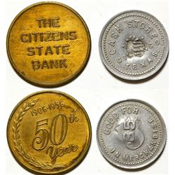 Citizens State Bank, Cash Store Tokens, Giddings, TX