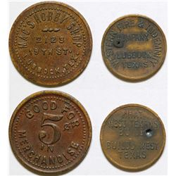 Mac's Hobby Shop & Western Fire & Indemnity Co. Tokens, Lubbock, TX
