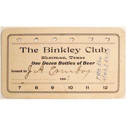 Binkley Club Token, Sherman, TX