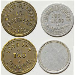 Wright-Herndon, American Legion Tokens, Sweetwater, TX