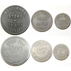 Bell Bros. Store Tokens, Trinity, TX