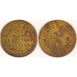 Munroe Bros. Drug Store Token, Wortham, TX