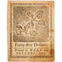 Continental Currency: Forty-five Dollar Note