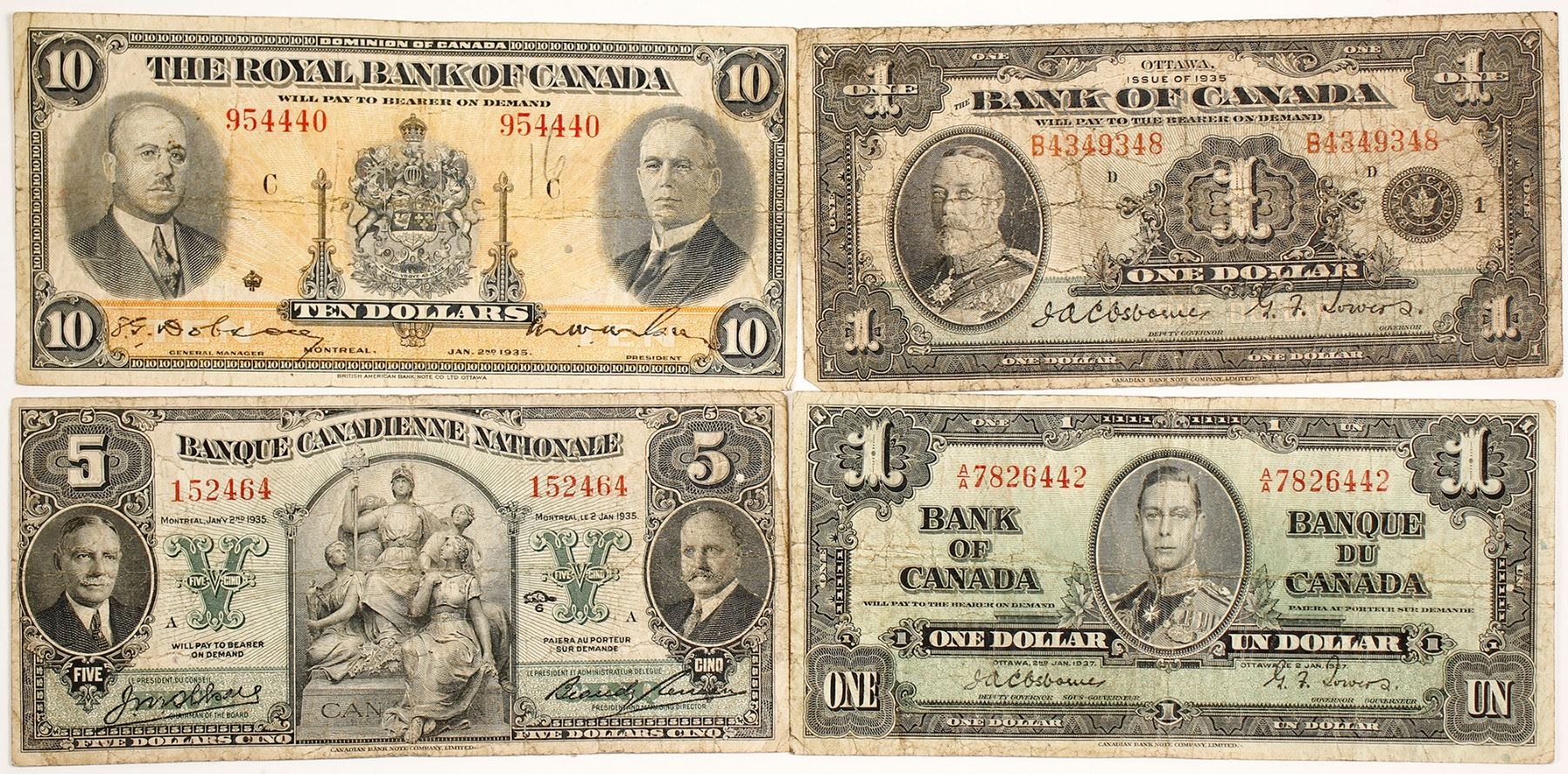 $10 BANK NOTES SELLING 1 NOTE FOR $17. BANK OF CANADA 1937-5