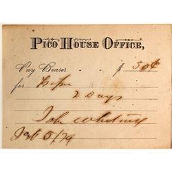 1879 Pico House Scrip, Los Angeles