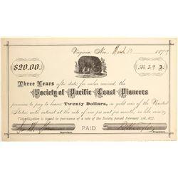 Society of the Pacific Coast Pioneers $20 Scrip, Virginia City, Nevada
