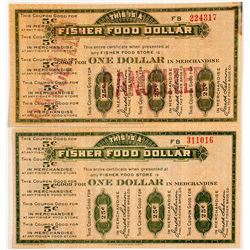 Two Pieces of $1 Scrip for Fisher Food Stores
