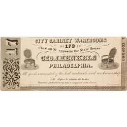 c.1870s Advertising Note for City Cabinet Warerooms