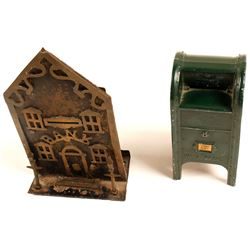 2 Old Metal Coin Banks