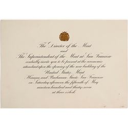 Invitation to Opening of U.S. Mint