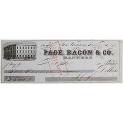 Page, Bacon & Co. Check, San Francisco, 1855 Gold Rush Era