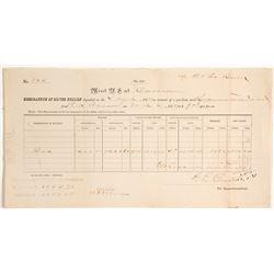 Carson City Mint Memorandum of Silver Deposit by B& E Bank