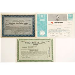 Three Stock Certificates with Coin Themes