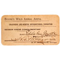 California Mid-Winter Exposition Pass for Boone's Wild Animal Arena