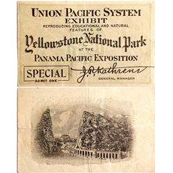 Ticket for the Yellowstone National Park Exhibit at PPIE