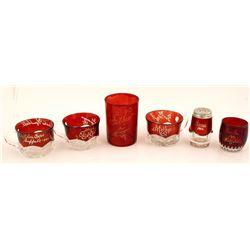 Pan American Expo Ruby Cut Glass Souvenirs