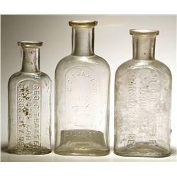Three G. C. Thaxter Druggist Bottles, Carson City, Nevada