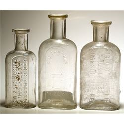 Three G. C. Thaxter Druggist Bottles, Carson City, Nevada