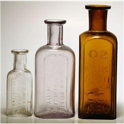 Three O. P. Willis Apothecary Bottles, Carson City, Nevada