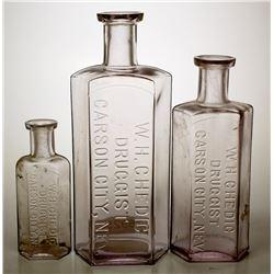 Three W. H Chedic Druggist Bottles, Carson City, Nevada