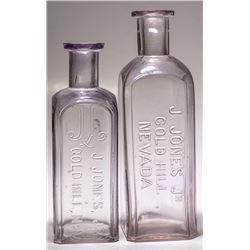 Two J. Jones, Jr. Drug Bottles, Gold Hill, Nevada