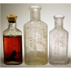 Three Weck Prescription Druggist Bottles, Reno, Nevada