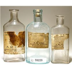 A. M. Cole Druggist And Apothecary (Paper Label Only) Bottles, Virginia City, Nevada