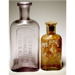 F. J Schneider Druggist Bottles, Eureka, Nevada