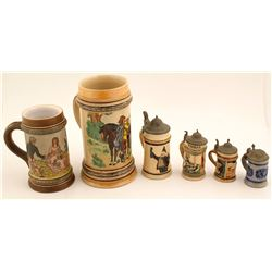 European Beer Steins (4) & Beer Mugs (2)