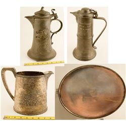 Two Beer Pitchers and Pewter Beer Tankard