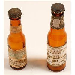 Pabst and Budweiser Miniature Bottles