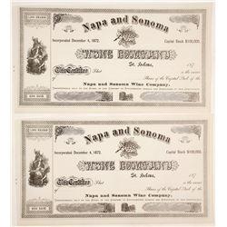 Napa and Sonoma Wine Company Certificates (2)