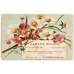 Sacramento Saloon Advertising Card: Canada Saloon