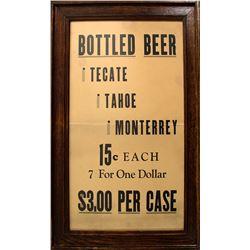 Framed Tecate Tahoe Bottled Beer Broadside