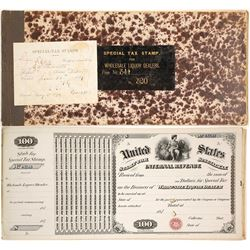 Dakota Territory Tax Stamps for Wholesale Liquor Dealers