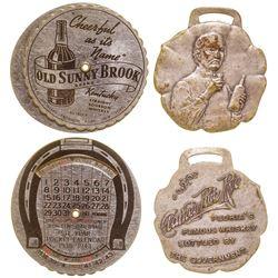 Clarke's Pure Rye Whiskey Watch Fob/ Old Sunny Brook Calendar